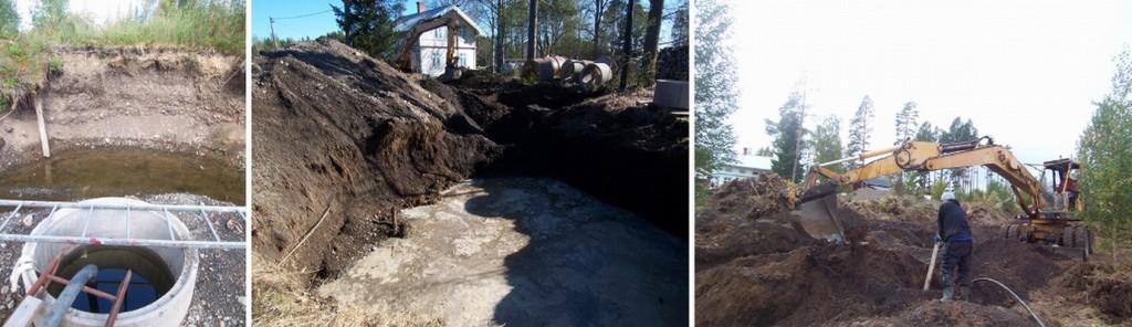 コンクリートのリングを設置。中の水をかい出して掘り進めようとしたが水の勢いには勝てず断念(左)。井戸ではなくプールができた(中)。こちら暖房システムのためのパイプを裏庭に埋める作業中(右)